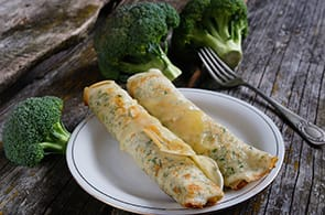 Crêpes con broccoli e merluzzo