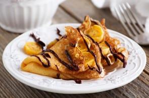 Crêpes con Banane Flambé al Cioccolato