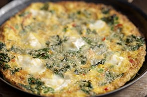 Omelette spinaci, pancetta e camembert