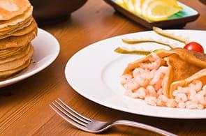 Crêpes con Gamberetti, Zucchine e Brie