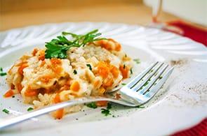 Risotto con carote, zucchine e brie
