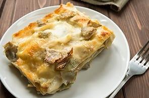 Lasagne con carciofi e brie
