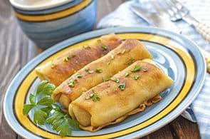 Crêpes con verza pancetta e brie