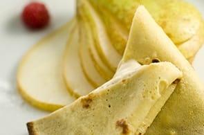 Crêpes con Roquefort, Mostarda di Pere e Rucola