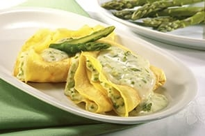 Crêpes Gratinate con Asparagi Pancetta Brie