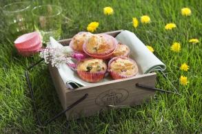 Muffin con fave, salame e emmental