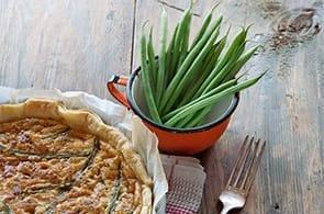 Quiche con fagiolini, roquefort e noci