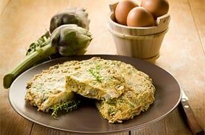 Omelette con carciofi fritti